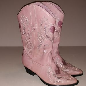 Roper's pink with hearts cowgirl boots